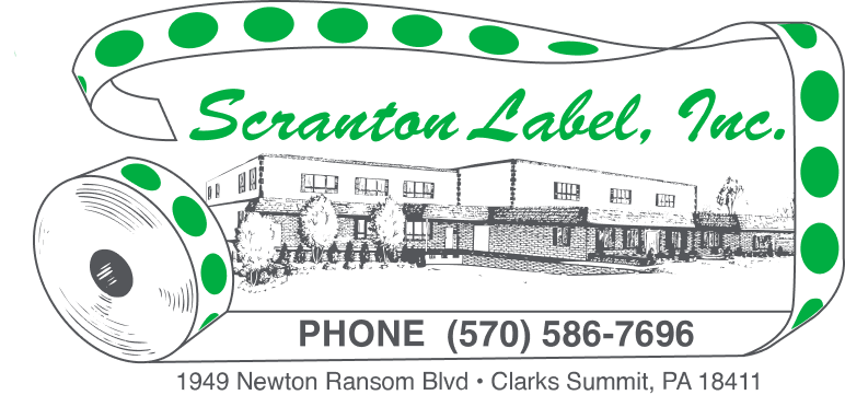 Sketched design of a building face and surrounding terrain with the words 'Scranton Label Inc.' on it in green.